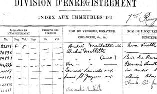 Page d'un index aux immeubles